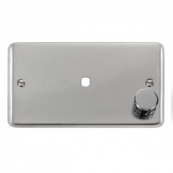 Click Deco Plus Polished Chrome 2 Gang Single Aperture Dimmer Plate with Matching Knob