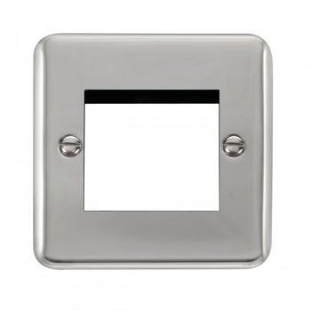 Click Deco Plus Polished Chrome 1 Gang Twin Aperture Plate