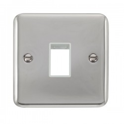 Click Deco Plus Polished Chrome 1 Gang Single Aperture Plate with White Insert