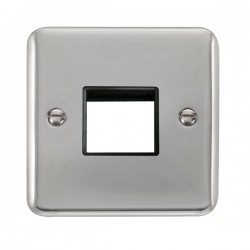Click Deco Plus Polished Chrome 1 Gang Twin Aperture Plate with Black Insert