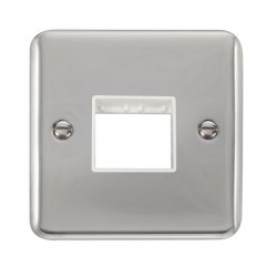 Click Deco Plus Polished Chrome 1 Gang Twin Aperture Plate with White Insert