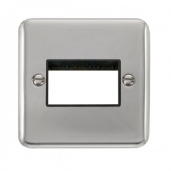 Click Deco Plus Polished Chrome 1 Gang Triple Aperture Plate with Black Insert
