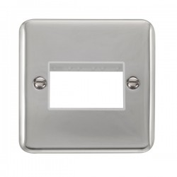 Click Deco Plus Polished Chrome 1 Gang Triple Aperture Plate with White Insert