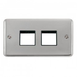 Click Deco Plus Polished Chrome 2 Gang 2x2 Aperture Plate with Black Insert