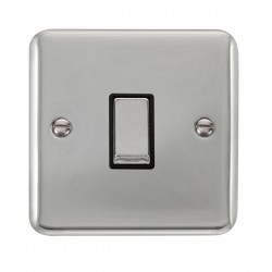 Click Deco Plus Polished Chrome 1 Gang 10AX 2 Way Ingot Switch with Black Insert