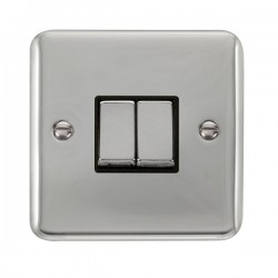 Click Deco Plus Polished Chrome 2 Gang 10AX 2 Way Ingot Switch with Black Insert