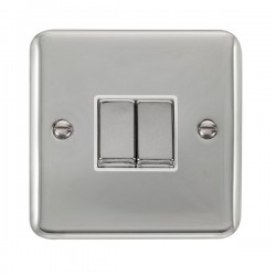 Click Deco Plus Polished Chrome 2 Gang 10AX 2 Way Ingot Switch with White Insert