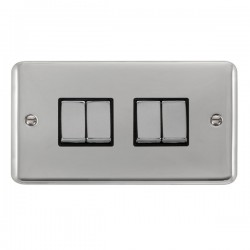 Click Deco Plus Polished Chrome 4 Gang 10AX 2 Way Ingot Switch with Black Insert
