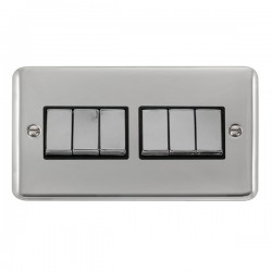 Click Deco Plus Polished Chrome 6 Gang 10AX 2 Way Ingot Switch with Black Insert