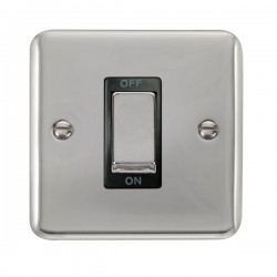 Click Deco Plus Polished Chrome 1 Gang 45A Double Pole Ingot Switch with Black Insert