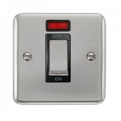 Click Deco Plus Polished Chrome 1 Gang 45A Double Pole Ingot Switch with Neon and Black Insert