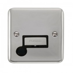Click Deco Plus Polished Chrome 13A Fused Ingot Connection Unit with Flex Outlet and Black Insert