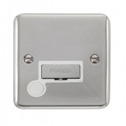 Click Deco Plus Polished Chrome 13A Fused Ingot Connection Unit with Flex Outlet and White Insert