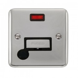 Click Deco Plus Polished Chrome 13A Fused Ingot Connection Unit with Flex Outlet, Neon, and Black Insert