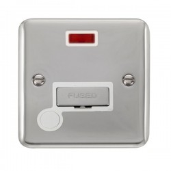 Click Deco Plus Polished Chrome 13A Fused Ingot Connection Unit with Flex Outlet, Neon, and White Insert