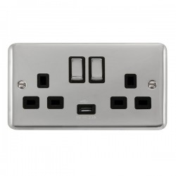 Click Deco Plus Polished Chrome 2 Gang 13A Ingot Switched Socket with USB Outlet and Black Insert