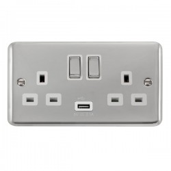 Click Deco Plus Polished Chrome 2 Gang 13A Ingot Switched Socket with USB Outlet and White Insert