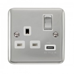 Click Deco Plus Polished Chrome 1 Gang 13A Ingot Switched Socket with USB Outlet and White Insert