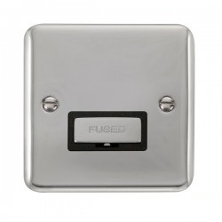 Click Deco Plus Polished Chrome 13A Fused Ingot Connection Unit with Black Insert