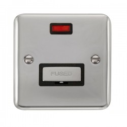Click Deco Plus Polished Chrome 13A Fused Ingot Connection Unit with Neon and Black Insert