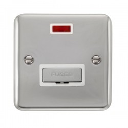 Click Deco Plus Polished Chrome 13A Fused Ingot Connection Unit with Neon and White Insert