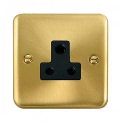Click Deco Plus Satin Brass 5A Round Pin Socket with Black Insert