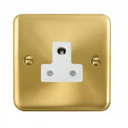 Click Deco Plus Satin Brass 5A Round Pin Socket with White Insert