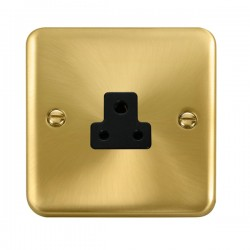 Click Deco Plus Satin Brass 2A Round Pin Socket with Black Insert