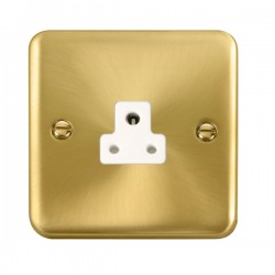 Click Deco Plus Satin Brass 2A Round Pin Socket with White Insert