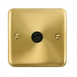 Click Deco Plus Satin Brass Single Coaxial Socket with Black Insert