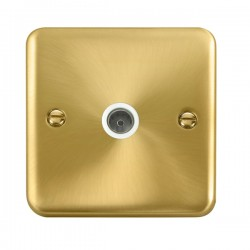 Click Deco Plus Satin Brass Single Coaxial Socket with White Insert