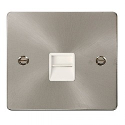 Click Define Brushed Steel Flat Plate Single Secondary Telephone Socket with White Insert