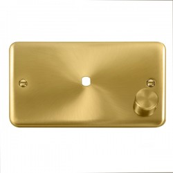 Click Deco Plus Satin Brass 2 Gang Single Aperture Dimmer Plate with Matching Knob