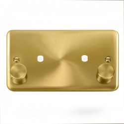 Click Deco Plus Satin Brass 2 Gang Twin Aperture Dimmer Plate with Matching Knobs