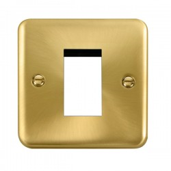 Click Deco Plus Satin Brass 1 Gang Single Aperture Plate