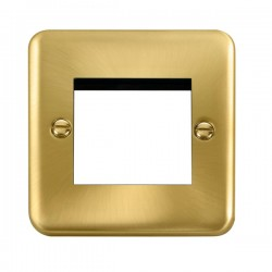 Click Deco Plus Satin Brass 1 Gang Twin Aperture Plate