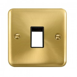 Click Deco Plus Satin Brass 1 Gang Single Aperture Plate with Black Insert