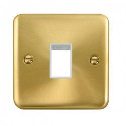 Click Deco Plus Satin Brass 1 Gang Single Aperture Plate with White Insert