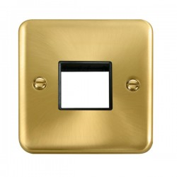 Click Deco Plus Satin Brass 1 Gang Twin Aperture Plate with Black Insert