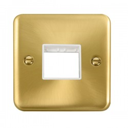 Click Deco Plus Satin Brass 1 Gang Twin Aperture Plate with White Insert