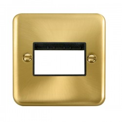 Click Deco Plus Satin Brass 1 Gang Triple Aperture Plate with Black Insert
