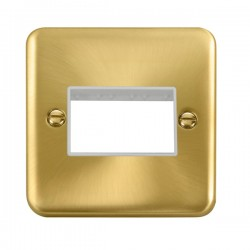 Click Deco Plus Satin Brass 1 Gang Triple Aperture Plate with White Insert