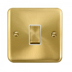 Click Deco Plus Satin Brass 1 Gang 10AX 2 Way Ingot Switch with White Insert