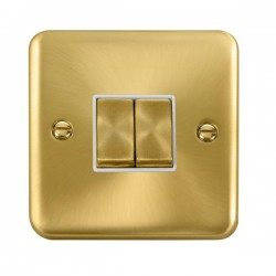 Click Deco Plus Satin Brass 2 Gang 10AX 2 Way Ingot Switch with White Insert