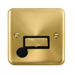 Click Deco Plus Satin Brass 13A Fused Ingot Connection Unit with Flex Outlet and Black Insert