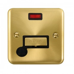 Click Deco Plus Satin Brass 13A Fused Ingot Connection Unit with Flex Outlet, Neon, and Black Insert