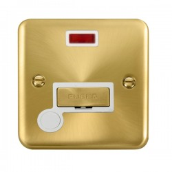 Click Deco Plus Satin Brass 13A Fused Ingot Connection Unit with Flex Outlet, Neon, and White Insert