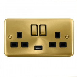 Click Deco Plus Satin Brass 2 Gang 13A Ingot Switched Socket with USB Outlet and Black Insert