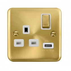 Click Deco Plus Satin Brass 1 Gang 13A Ingot Switched Socket with USB Outlet and White Insert