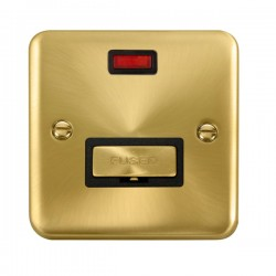 Click Deco Plus Satin Brass 13A Fused Ingot Connection Unit with Neon and Black Insert